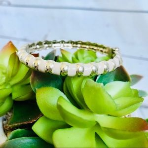 Sequin brand Cream enamel bangle with gold accents